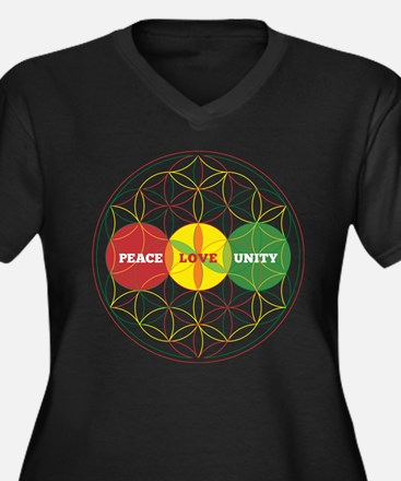 PEACE LOVE UNITY - flower of life Plus Size T-Shir