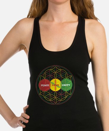 PEACE LOVE UNITY - flower of life Racerback Tank T
