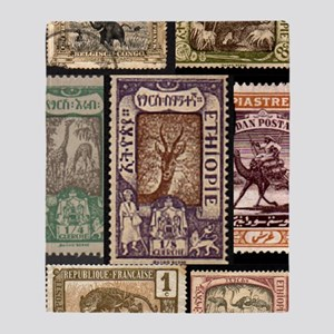 African Animals on Vintage Stamps Throw Blanket