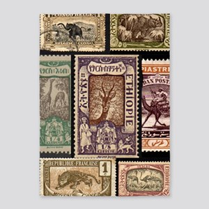 African Animals on Vintage Stamps 5'x7'Area Rug