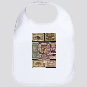 African Animals on Vintage Stamps Bib