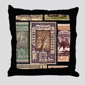 African Animals on Vintage Stamps Throw Pillow
