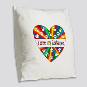 Cockapoo Love Burlap Throw Pillow