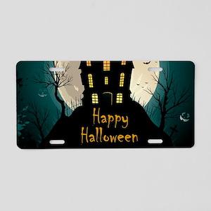 Happy Halloween Castle Aluminum License Plate