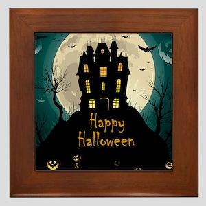Happy Halloween Castle Framed Tile
