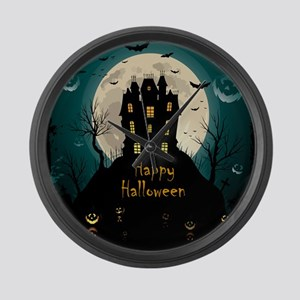 Happy Halloween Castle Large Wall Clock