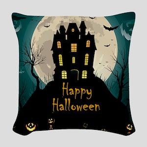 Happy Halloween Castle Woven Throw Pillow