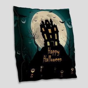 Happy Halloween Castle Burlap Throw Pillow