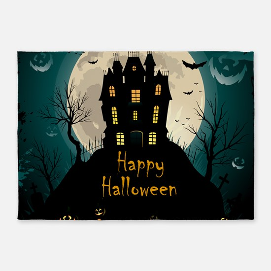 Happy Halloween Castle 5'x7'Area Rug