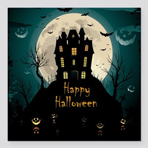 "Happy Halloween Castle Square Car Magnet 3"" x 3"""