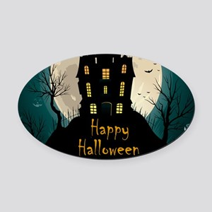 Happy Halloween Castle Oval Car Magnet