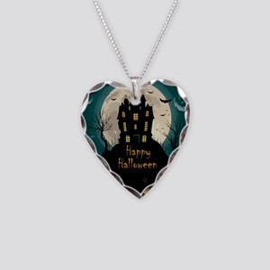 Happy Halloween Castle Necklace Heart Charm