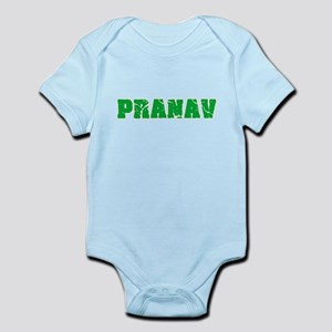 Pranav Name Weathered Green Design Body Suit
