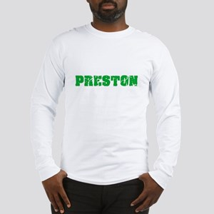 Preston Name Weathered Green D Long Sleeve T-Shirt