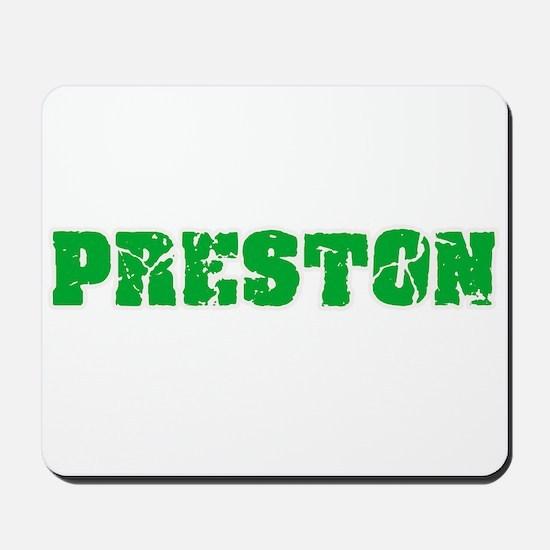 Preston Name Weathered Green Design Mousepad