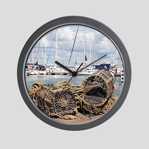 Lobster pots, Yarmouth, England Wall Clock
