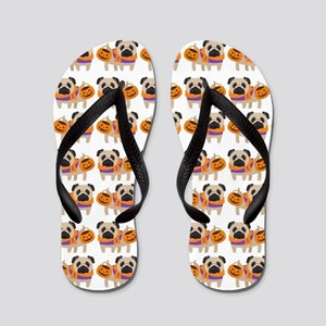 Trick or Treat Pug Flip Flops