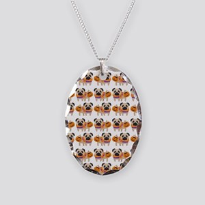 Trick or Treat Pug Necklace Oval Charm