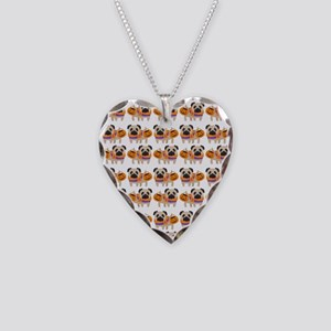 Trick or Treat Pug Necklace Heart Charm