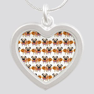 Trick or Treat Pug Silver Heart Necklace