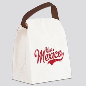 New Mexico Script Font Crimson Canvas Lunch Bag