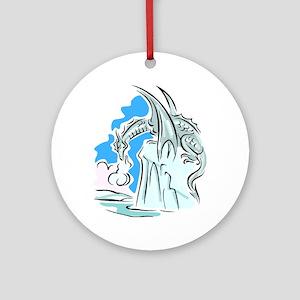 Silver Dragon Ornament (Round)