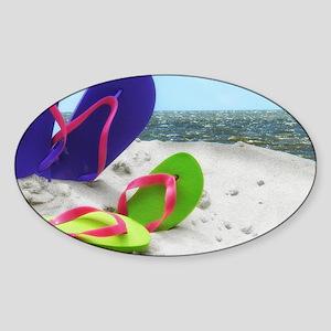 beach sandals Sticker (Oval)