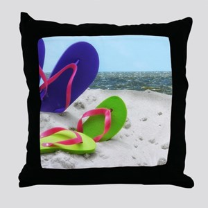 beach sandals Throw Pillow