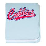 Cubbies Pink Camo Baseball Script Baby Blanket