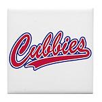 Cubbies Pink Camo Baseball Script Tile Coaster