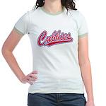 Cubbies Pink Camo Baseball Scri Jr. Ringer T-Shirt