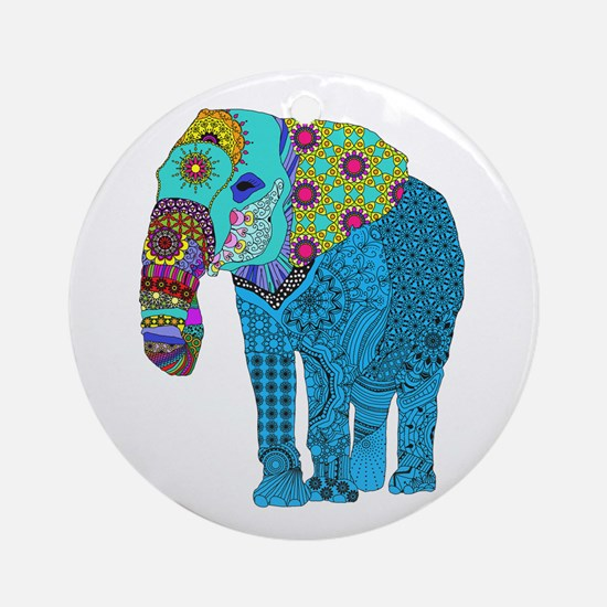 Tangled Elephant Blue Round Ornament
