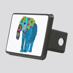 Tangled Elephant Blue Rectangular Hitch Cover