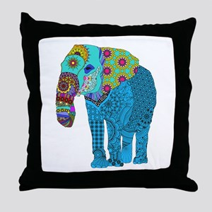 Tangled Elephant Blue Throw Pillow