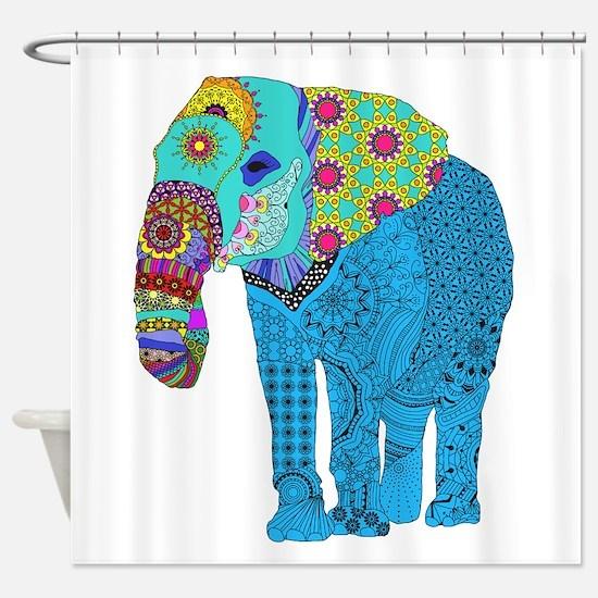 Tangled Elephant Blue Shower Curtain