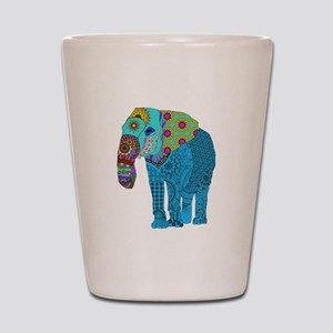 Tangled Elephant Blue Shot Glass