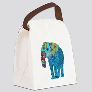 Tangled Elephant Blue Canvas Lunch Bag