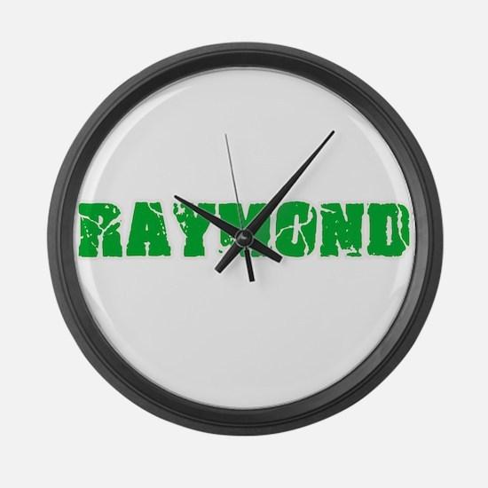 Raymond Name Weathered Green Desi Large Wall Clock