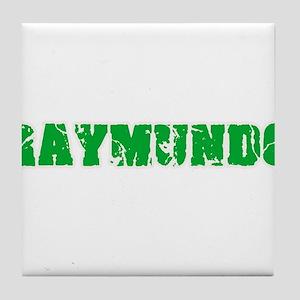 Raymundo Name Weathered Green Design Tile Coaster