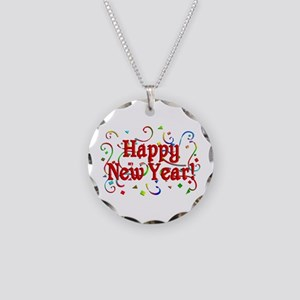 Happy New Year Necklace Circle Charm