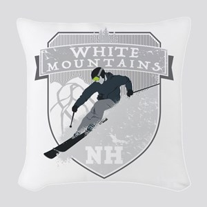 Ski White Mountains Woven Throw Pillow