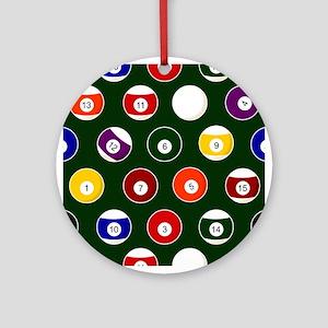 Green Pool Ball Billiards Pattern Round Ornament