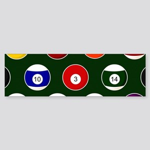 Green Pool Ball Billiards Pattern Bumper Sticker