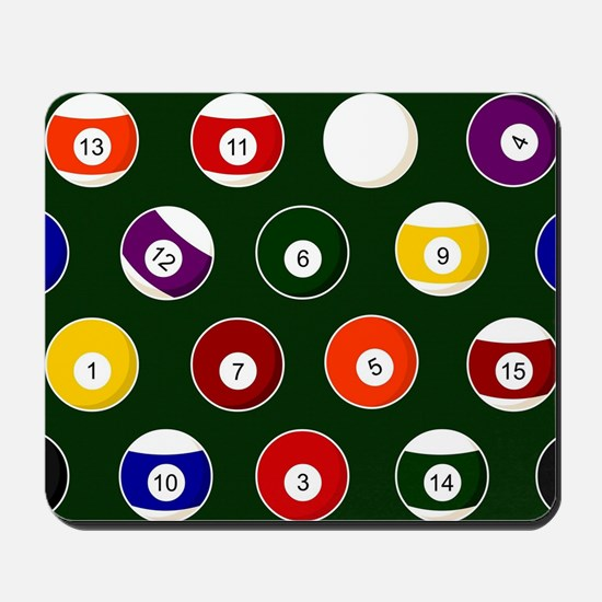 Green Pool Ball Billiards Pattern Mousepad