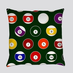 Green Pool Ball Billiards Pattern Everyday Pillow