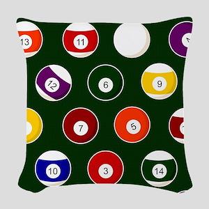 Green Pool Ball Billiards Pattern Woven Throw Pill