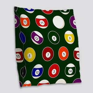 Green Pool Ball Billiards Pattern Burlap Throw Pil