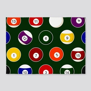 Green Pool Ball Billiards Pattern 5'x7'Area Rug