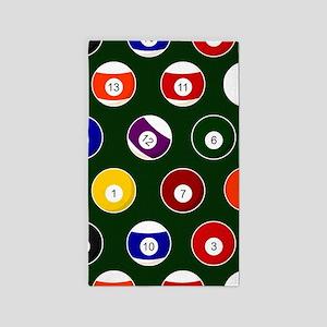 Green Pool Ball Billiards Pattern Area Rug