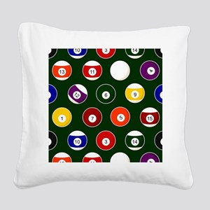 Green Pool Ball Billiards Pattern Square Canvas Pi